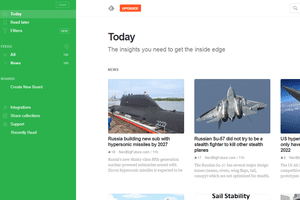 Screenshot of the Feedly online RSS reader