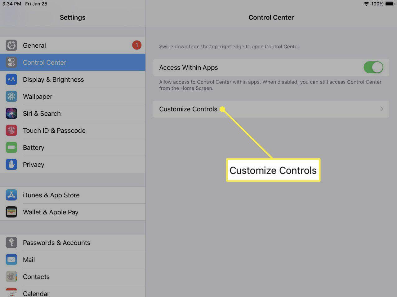 the main iOS Control Center settings screen.