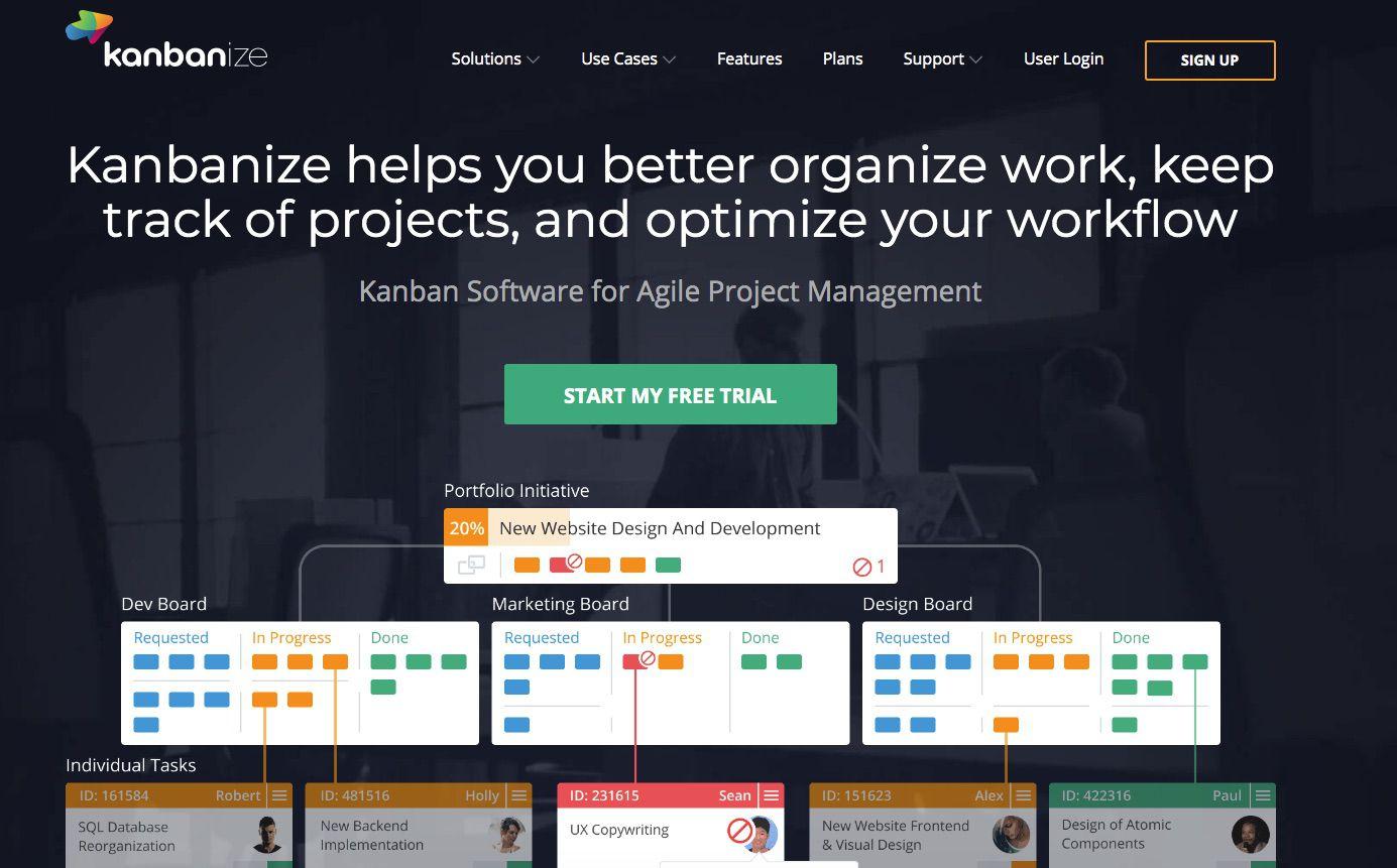 Kanbanize Kanban board website