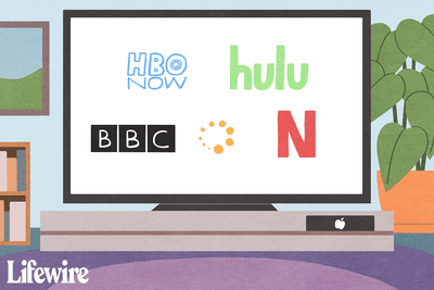 HBONow, Hulu, BBC, Netflix logos on a TV connected to Apple TV