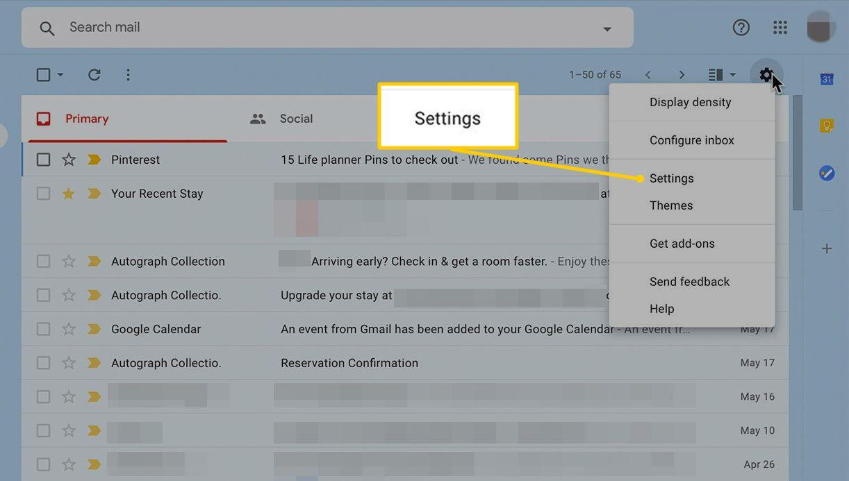 Settings menu item in Gmail