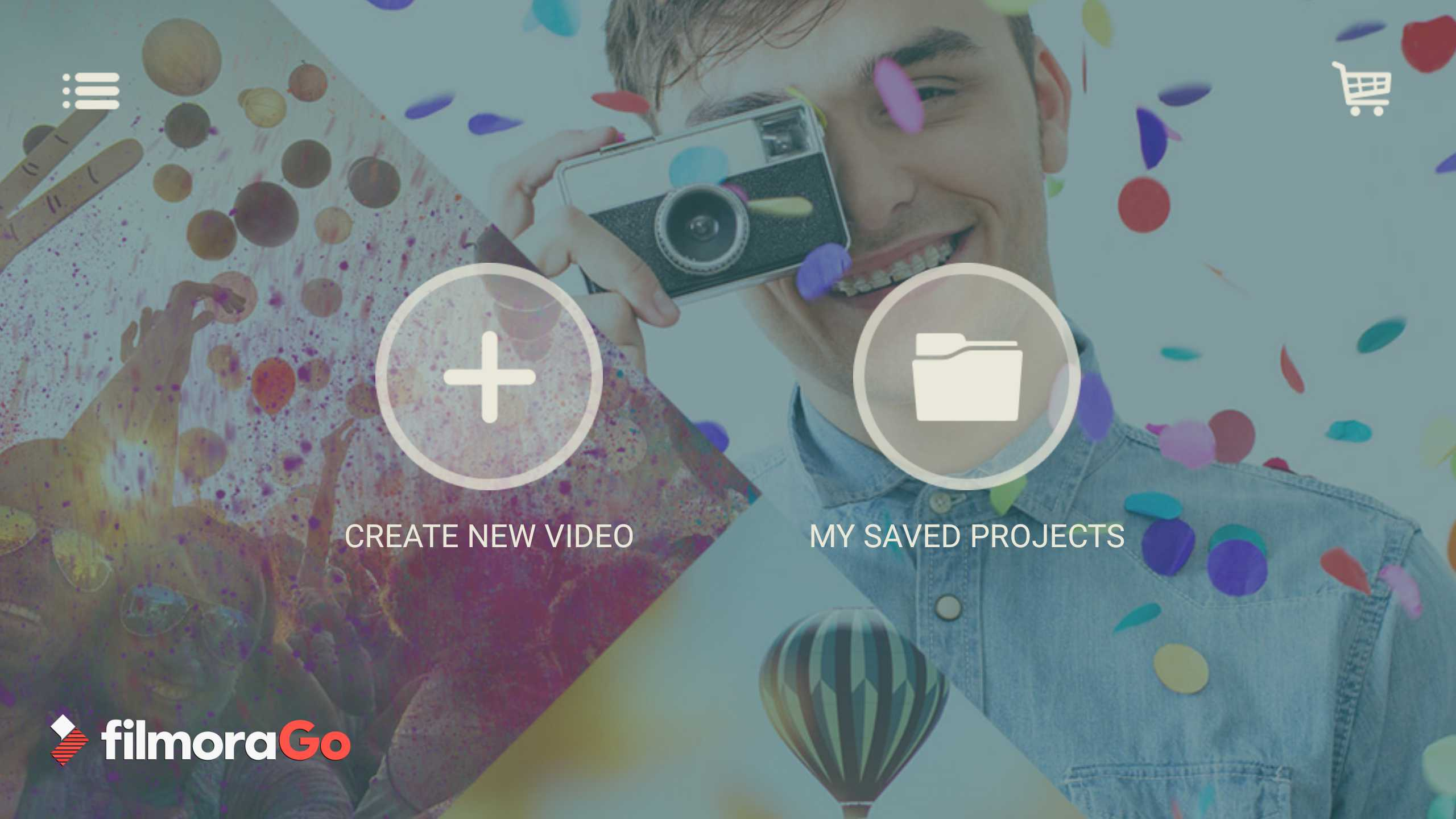Homescreen of FilmoraGo app with new video and save projects buttons