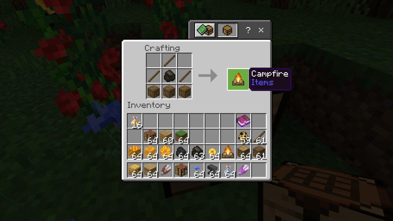 Craft a Campfire in Minecraft.