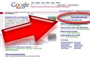 Google News page personalization