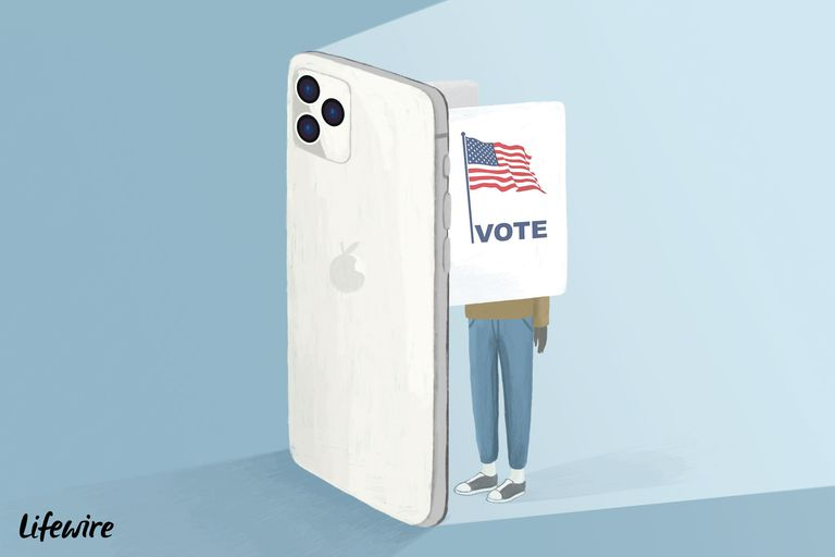 Voter using a huge iPhone as a voting booth