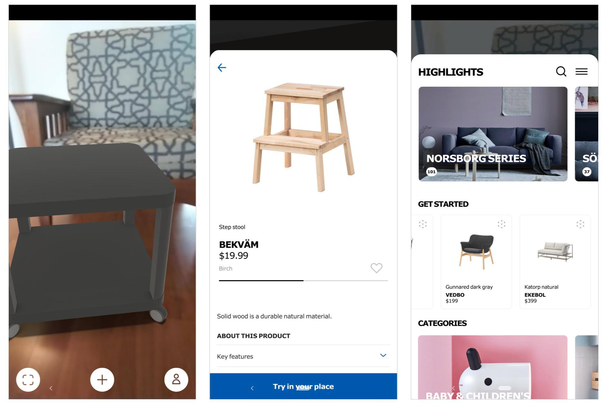 3 screenshots: Virtual reality rolling small cart placed in room; detail info on small step stool; overall catalog highlights