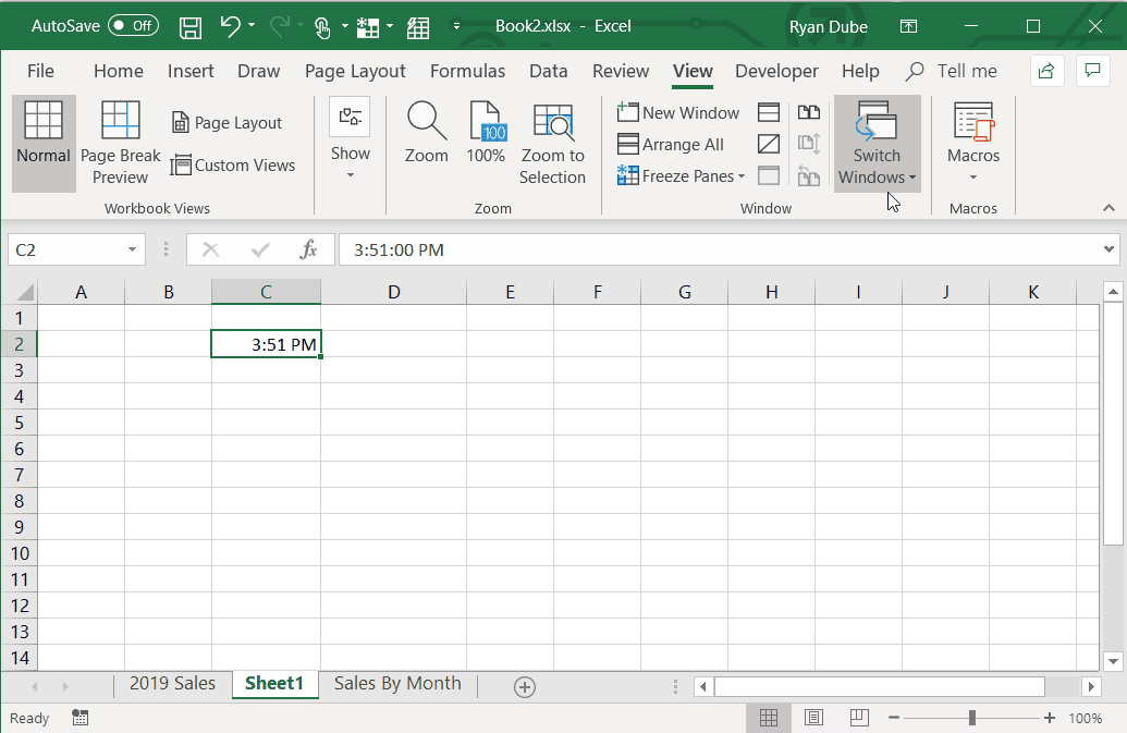 Screenshot of using the time format shortcut in Excel