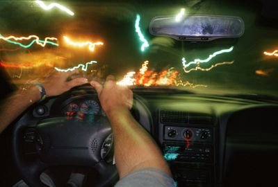 Car with flickering lights