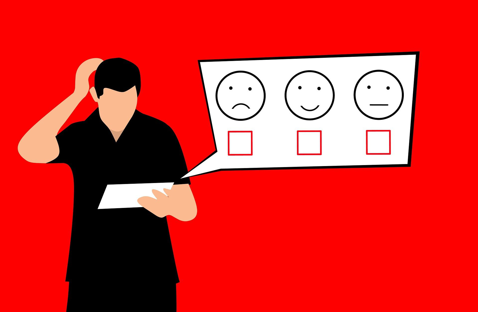 An illustration of someone filling out a survey.