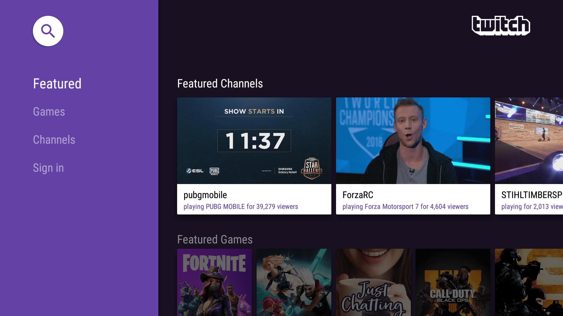 Twitch app on Fire TV.