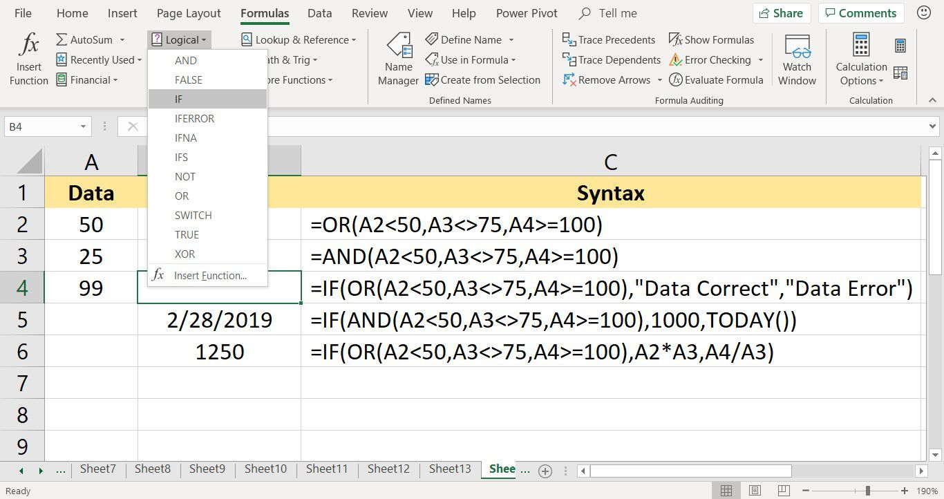 A screenshot showing how to find the IF function in Excel