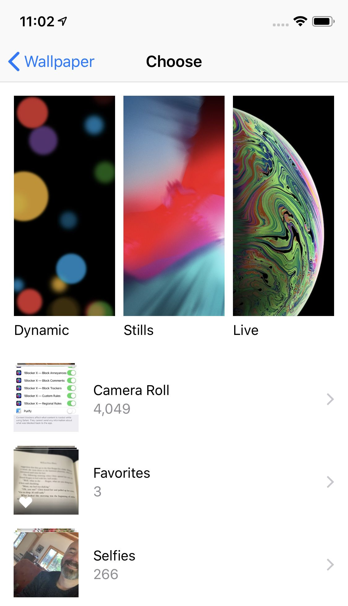 wallpaper selection screen on iPhone