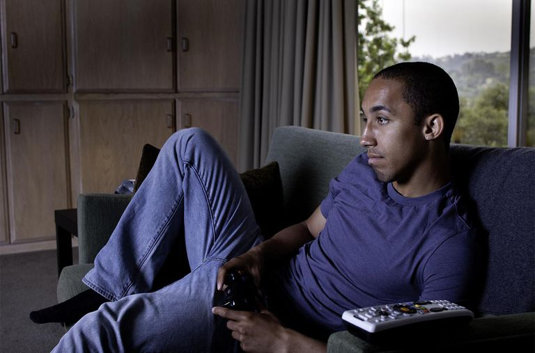 Man playing video games.