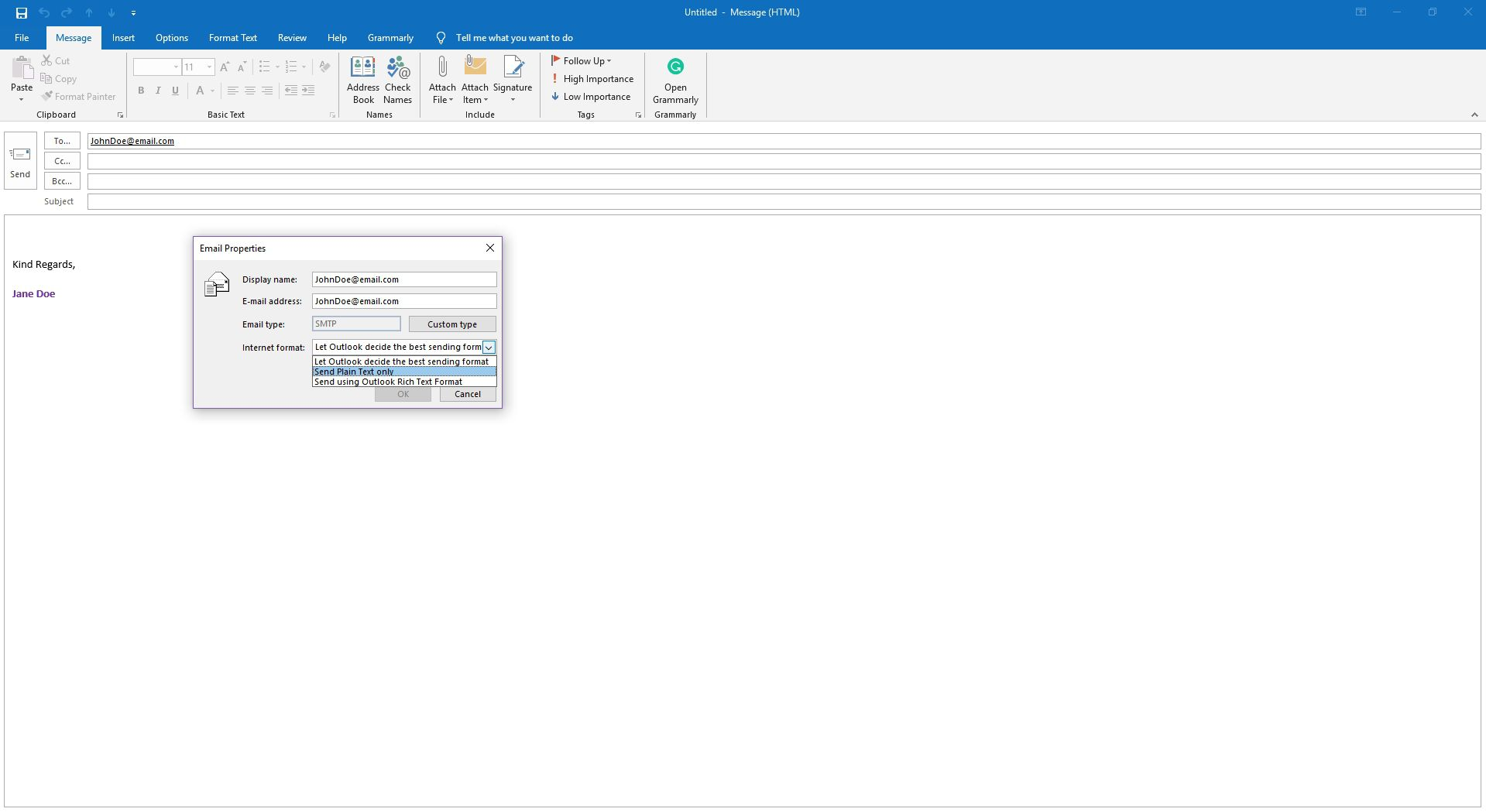 Prevent Sending Winmail dat Attachments in Outlook