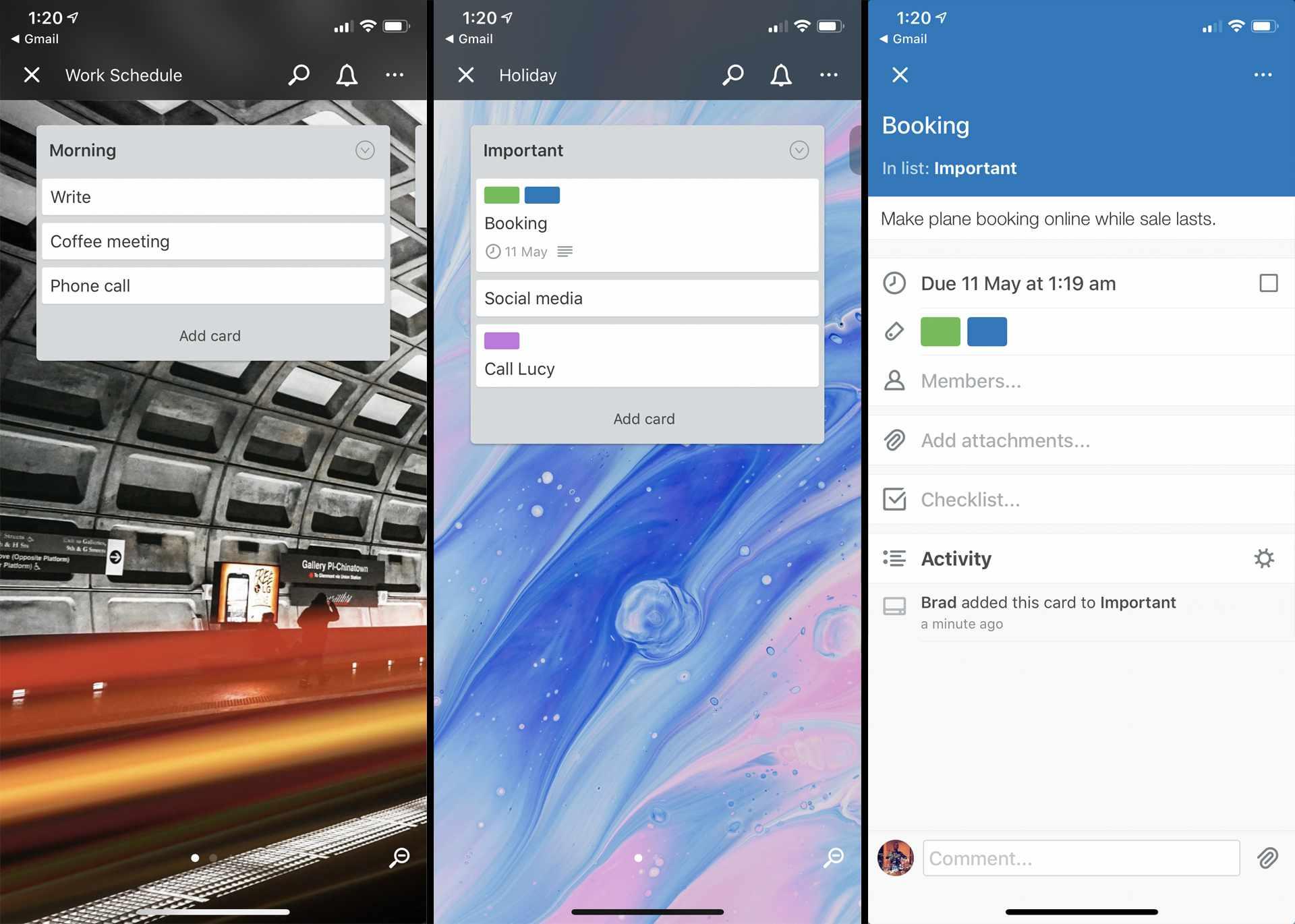 Trello productivity app on iPhone.