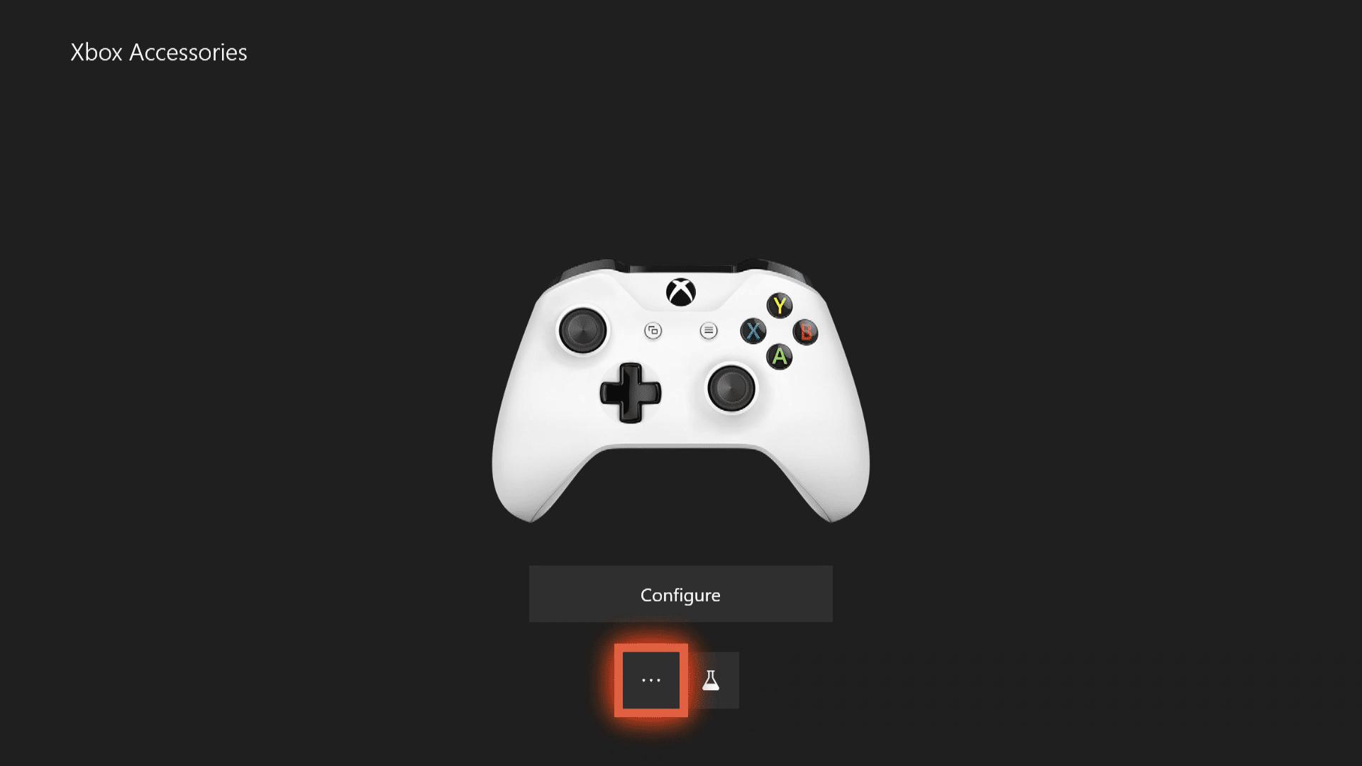 A screenshot of the Xbox One accessories menu.