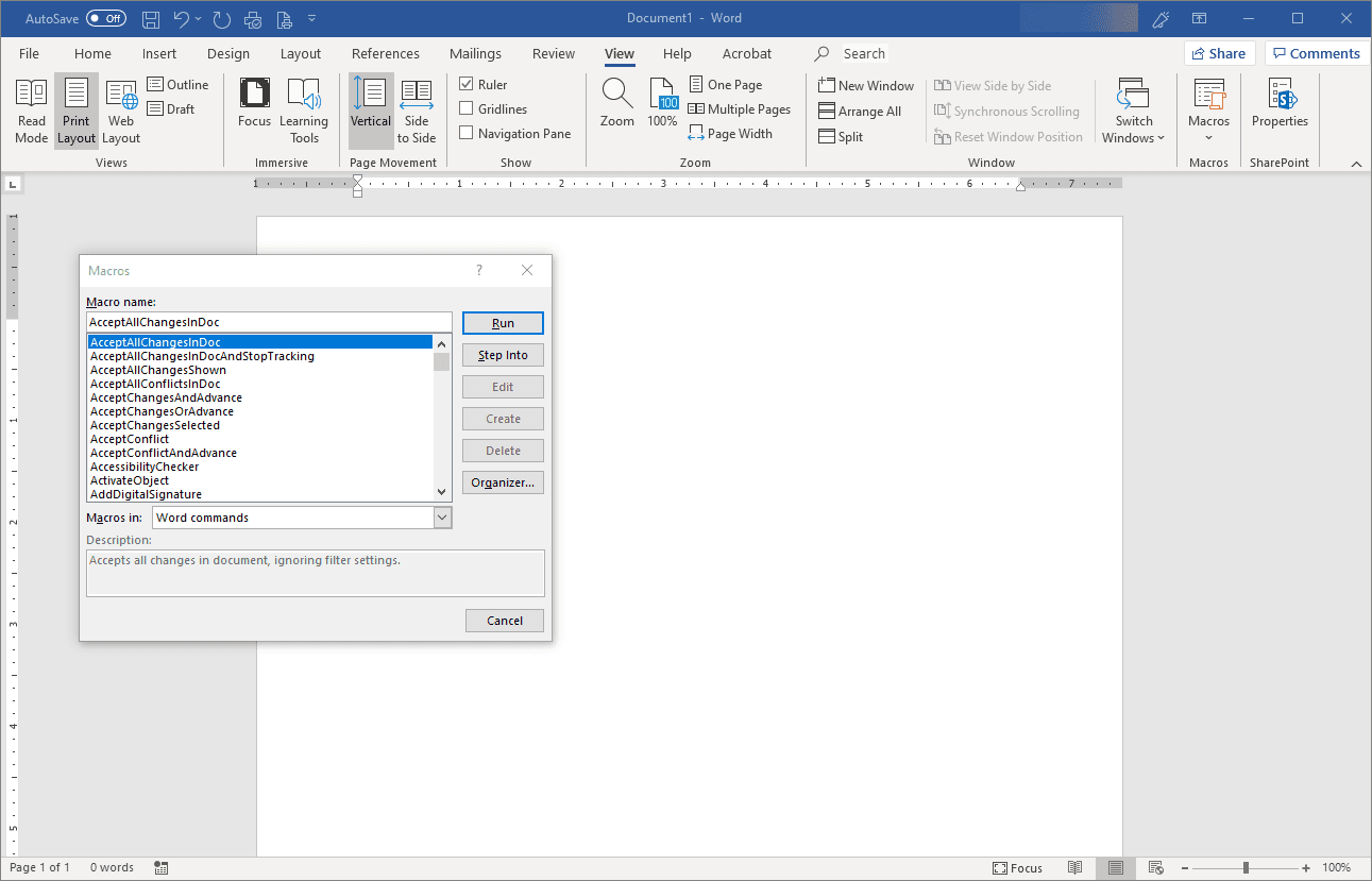 Listing All the Macro Commands Available in Word