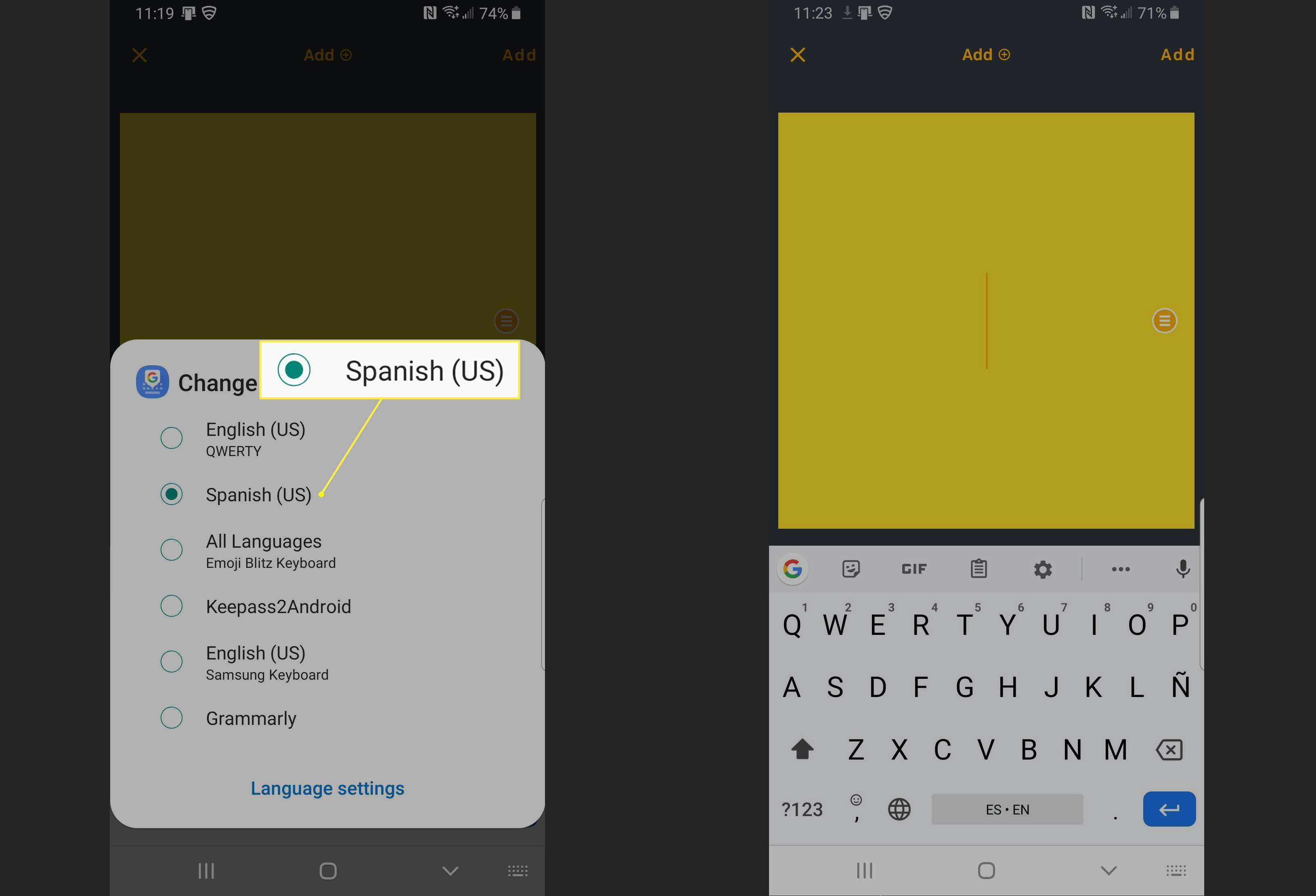 Selecting a keyboard in Android.