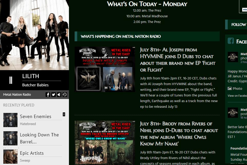 Screenshot of the Metal Nation Radio online radio website