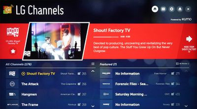 LG Channels – Onscreen Interface Example