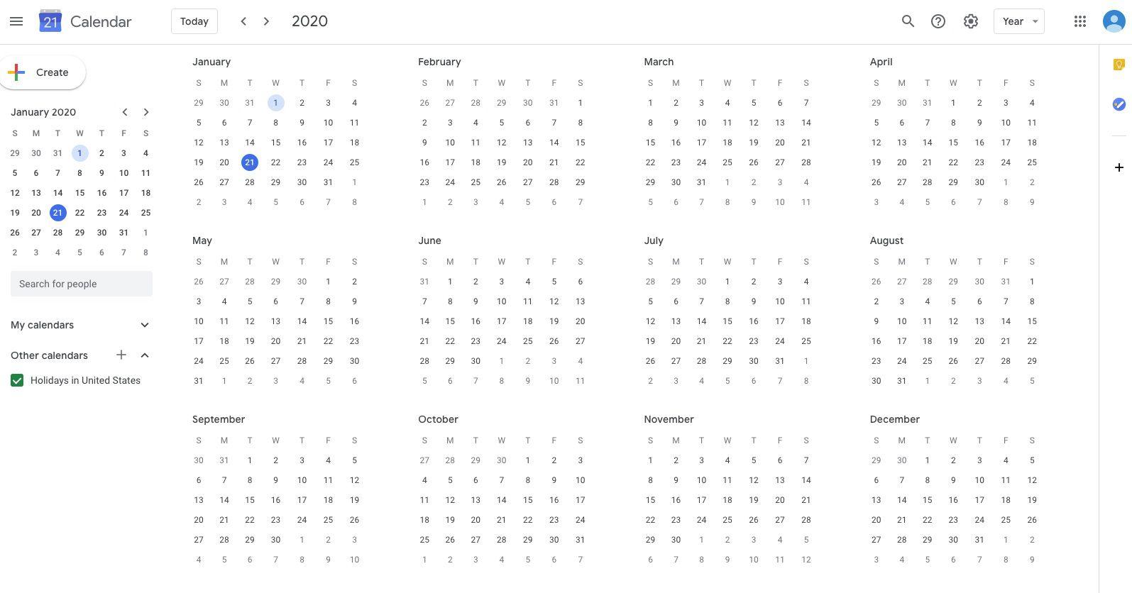 Google Calendar in Year view