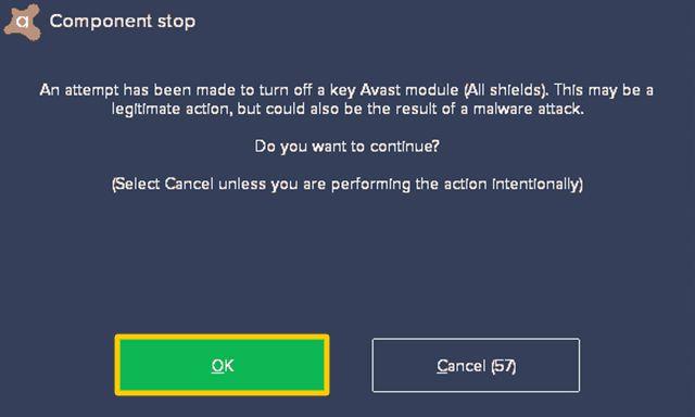 Screenshot of confirming disabling Avast.