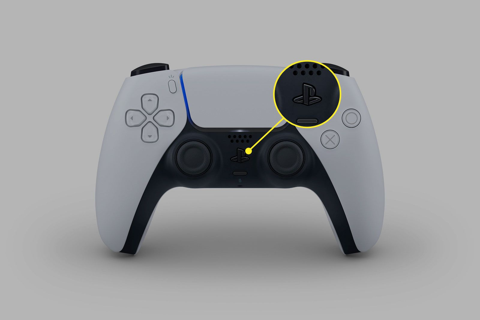 The PS button on the PlayStation 5 controller