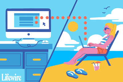 An illustration of someone remotely accessing their PC from a laptop on the beach.