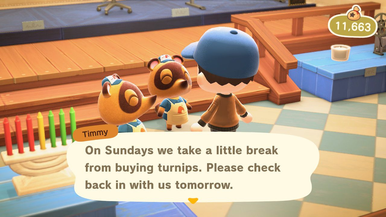 Trying to sell turnips at Nook's Cranny in Animal Crossing: New Horizons