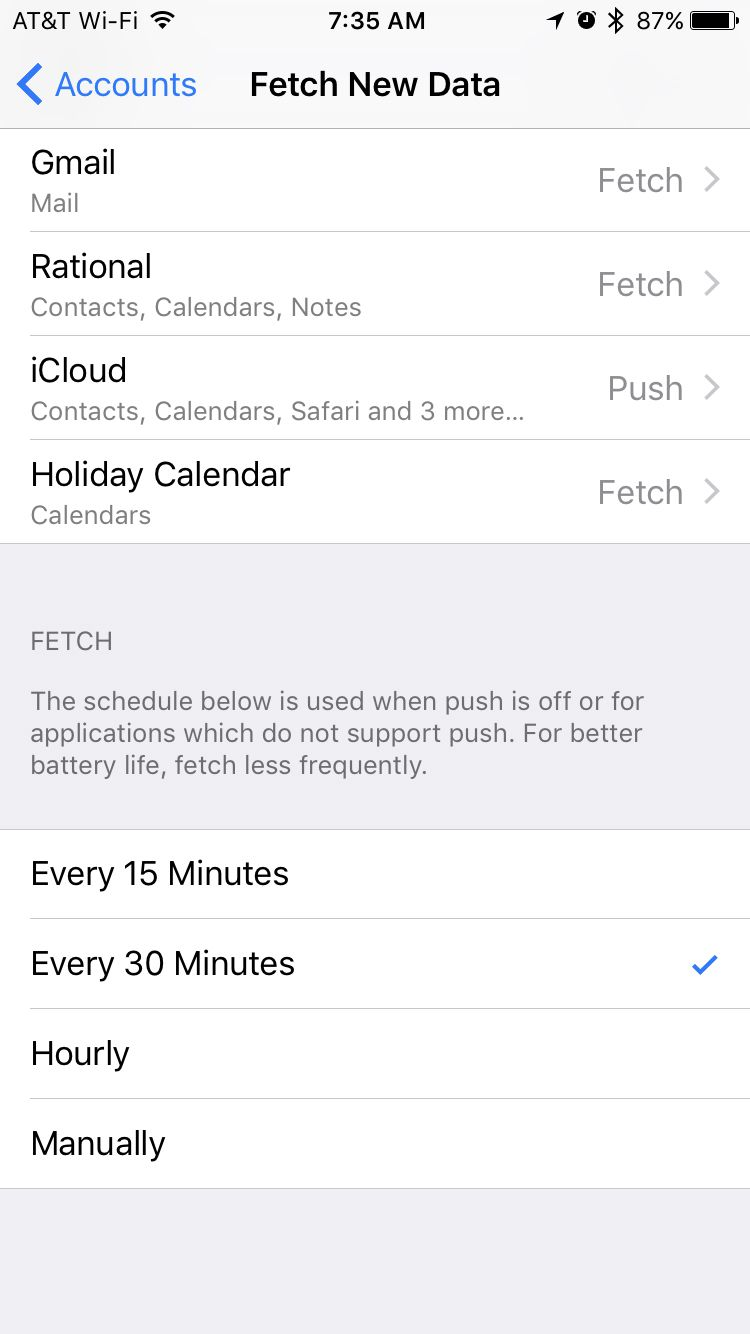fetch new data screen on iPhone