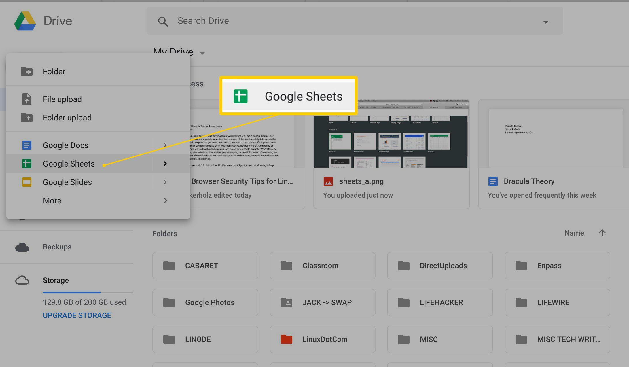 New Google Sheet menu item in Google Drive