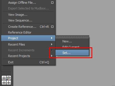 Setting the Project in Maya screenshot