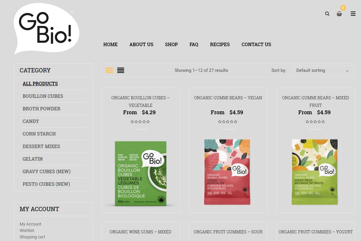 GoBio! Organics all products page