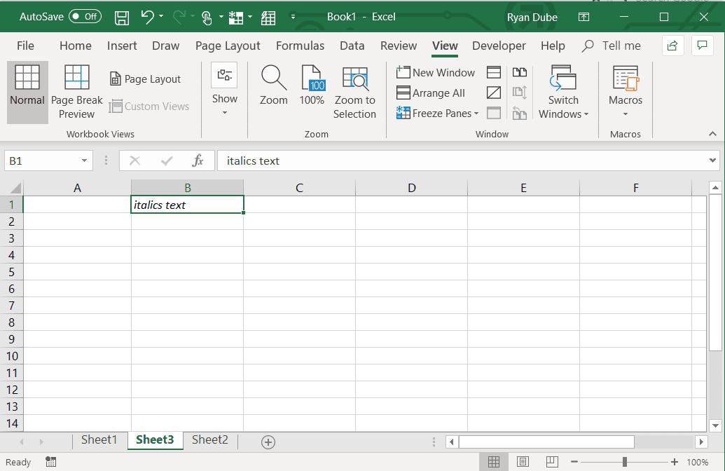 Screenshot of using the italics shortcut in Excel