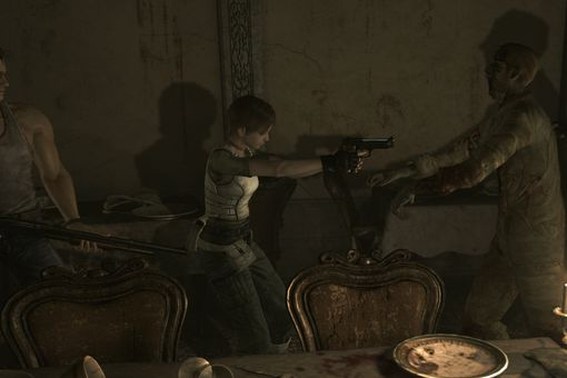 Billy and Rebecca face off against a zombie in Resident Evil Zero HD.