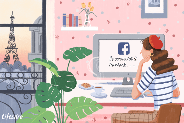 Illustration of a person in France looking at a Facebook screen that says