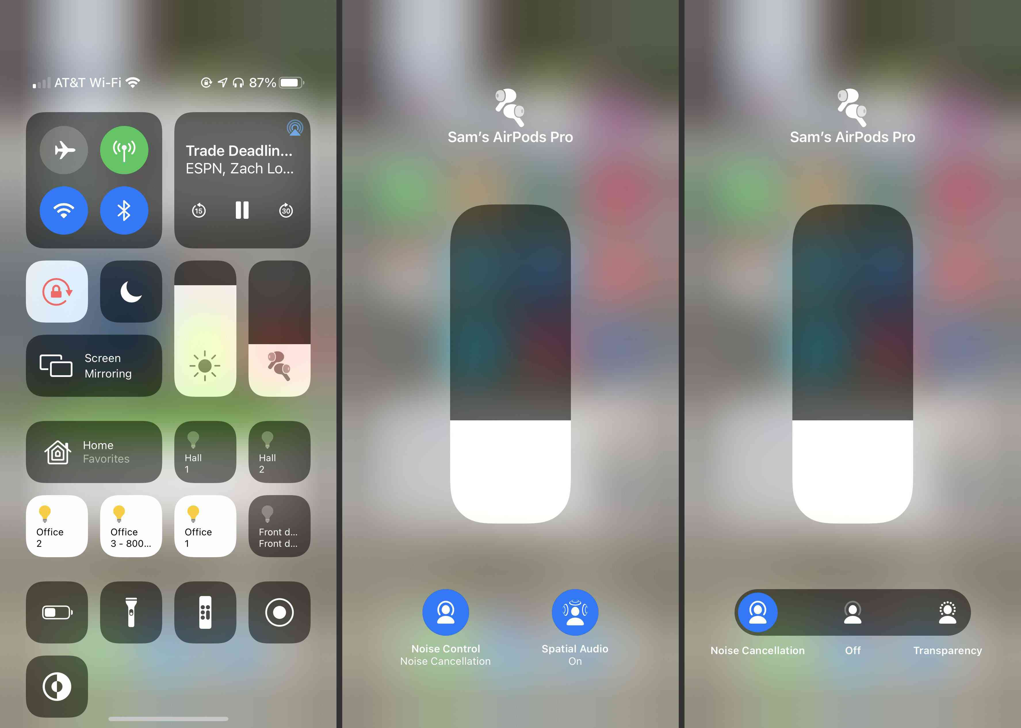 Steps to take to turn on AirPods Pro noise cancellation via iOS Control Center.