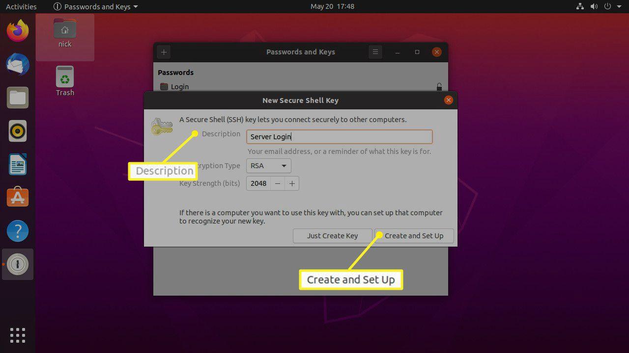 Ubuntu Seahorse create SSH key with Create and Set Up highlighted