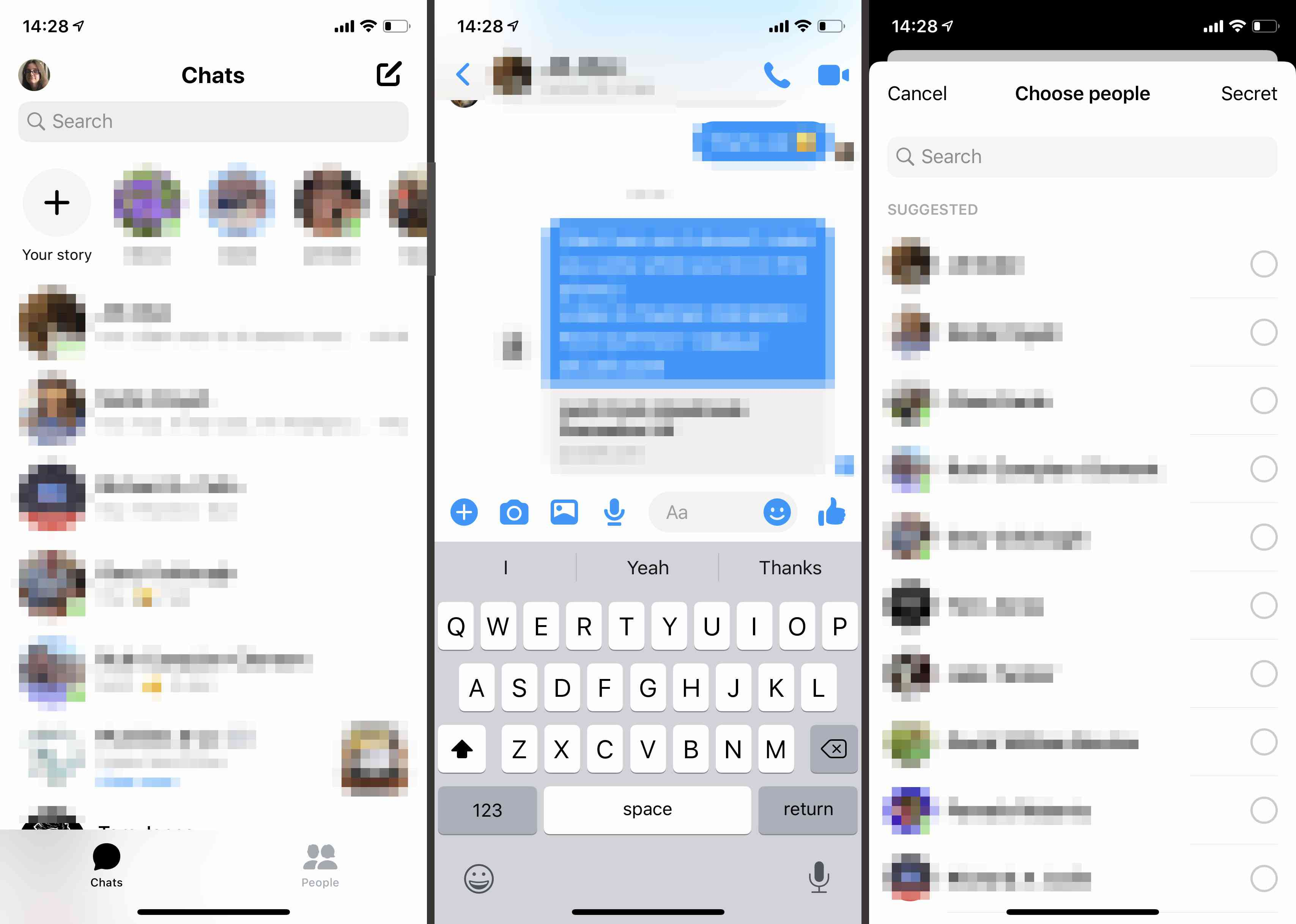 Facebook Messenger app on iOS
