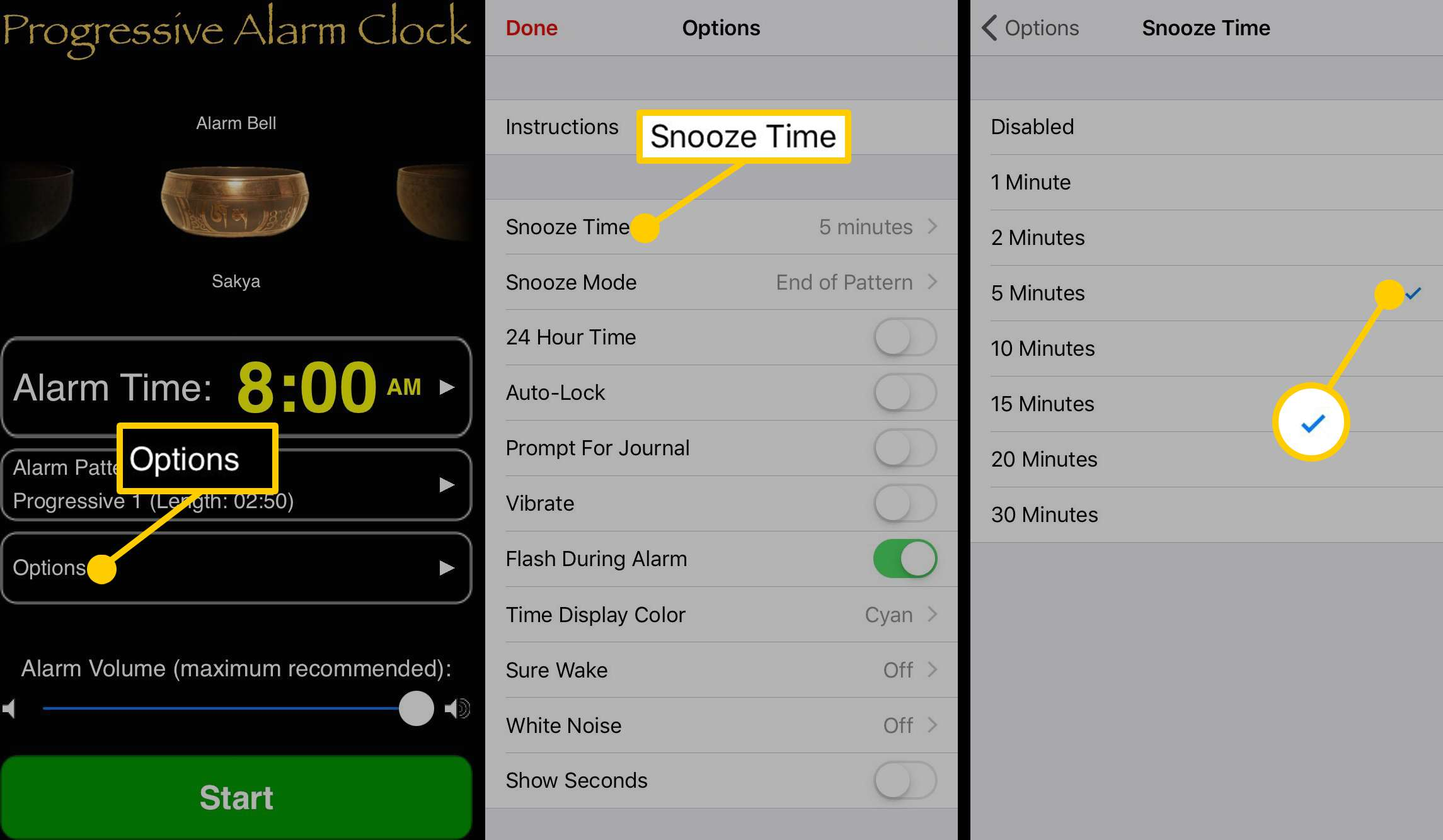 how to create a snooze time on the Progressive Alarm Clock app.