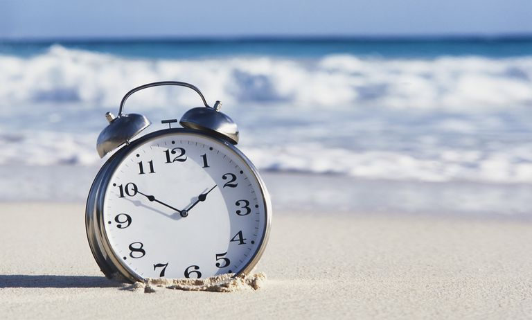 TIME RUNNING OUT FOR GLOBAL WARMING ALARM CLOCK ON BEACH
