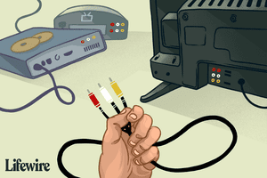 Illustration of RCA audio/visual cables held in hand