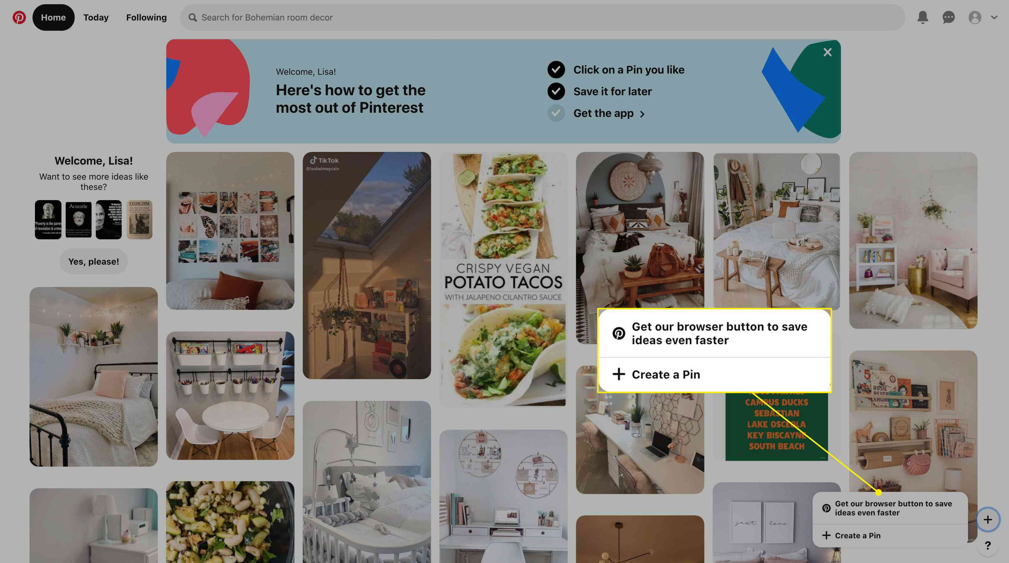 Pin creation options in Pinterest