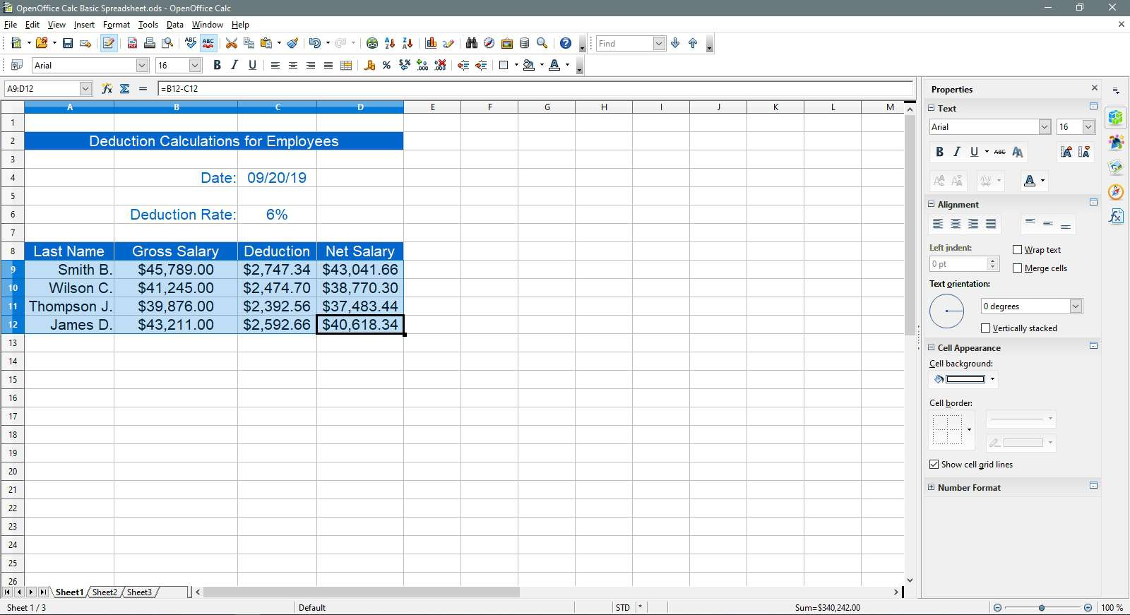 Selecting the data to change to sky blue in OpenOffice Calc.