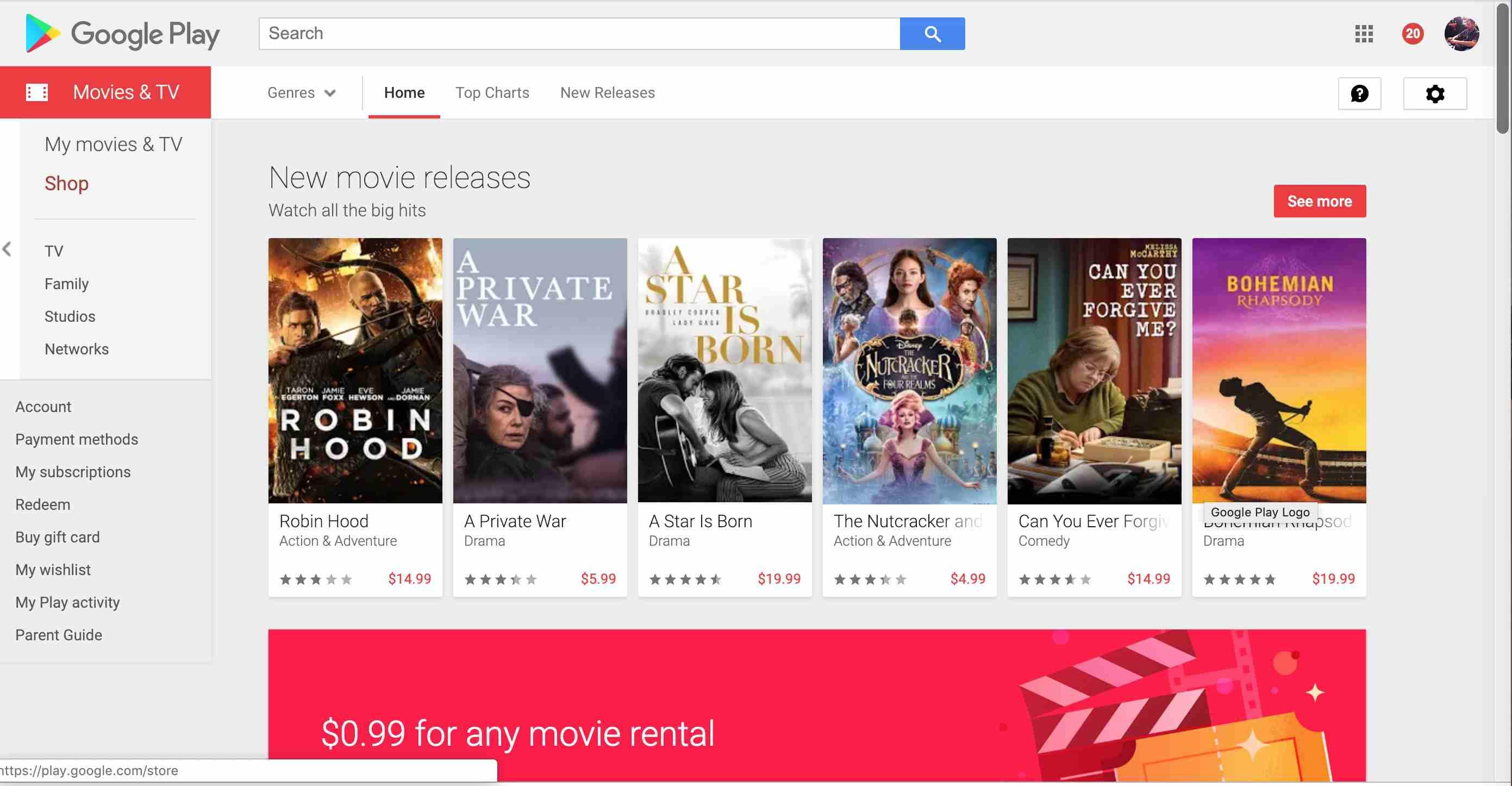 Google Play Movies & TV website