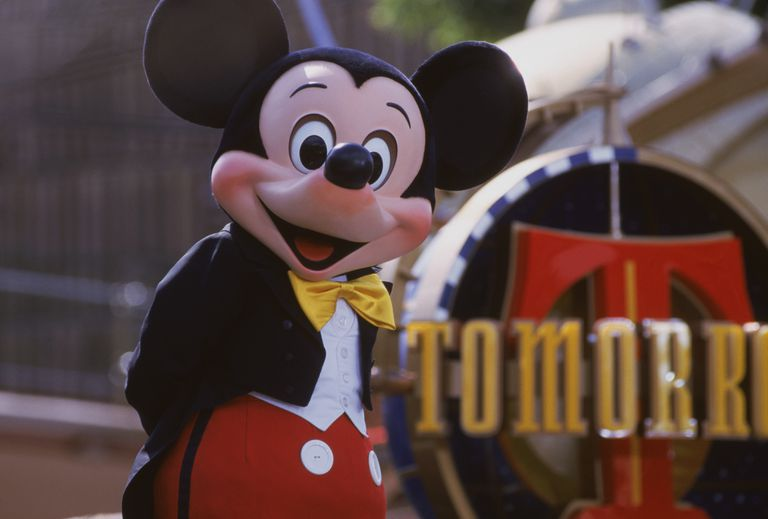 Person Wearing Mickey Mouse Costume at Disneyland Theme Park