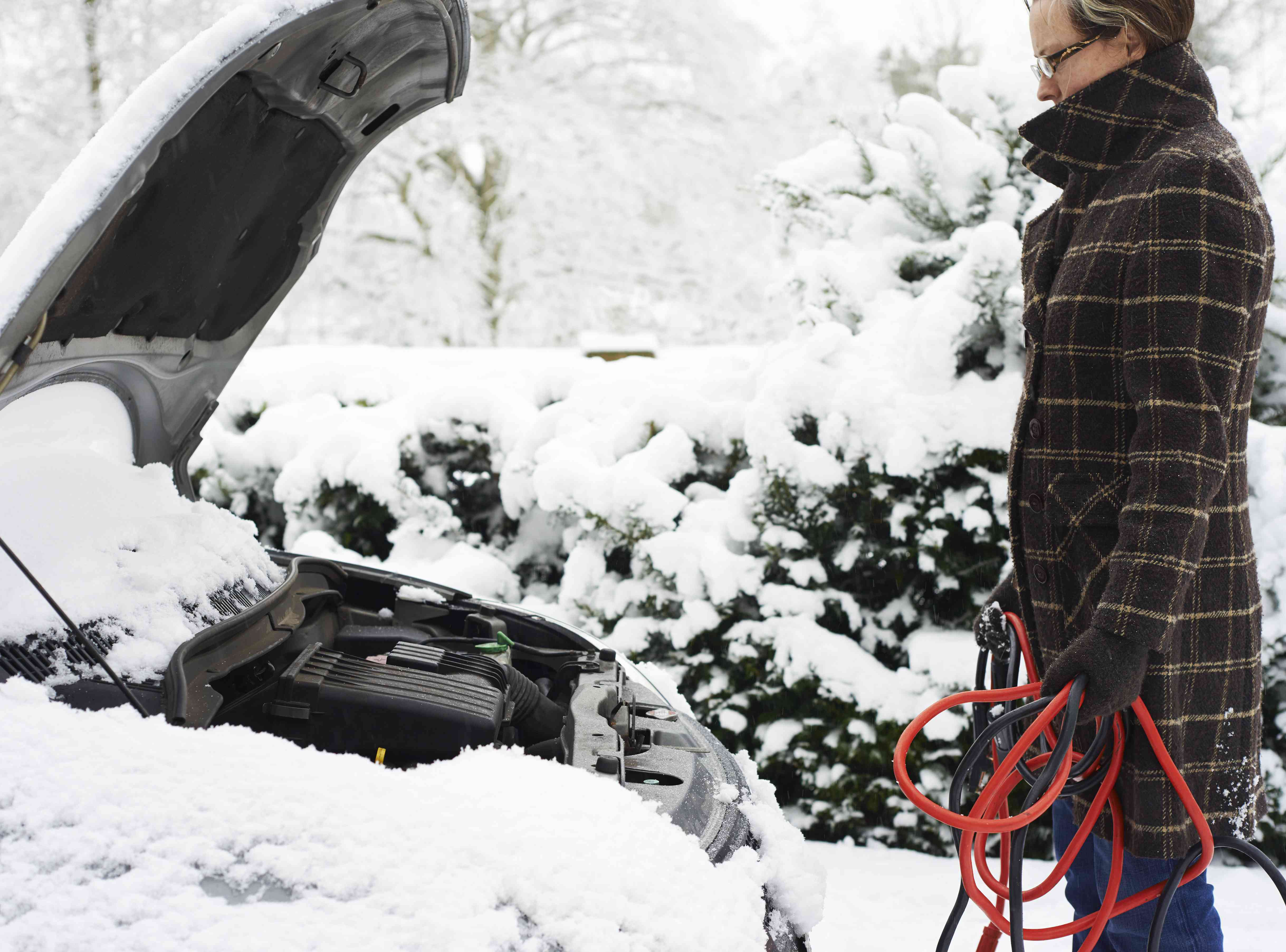 A driver holding jumper cables