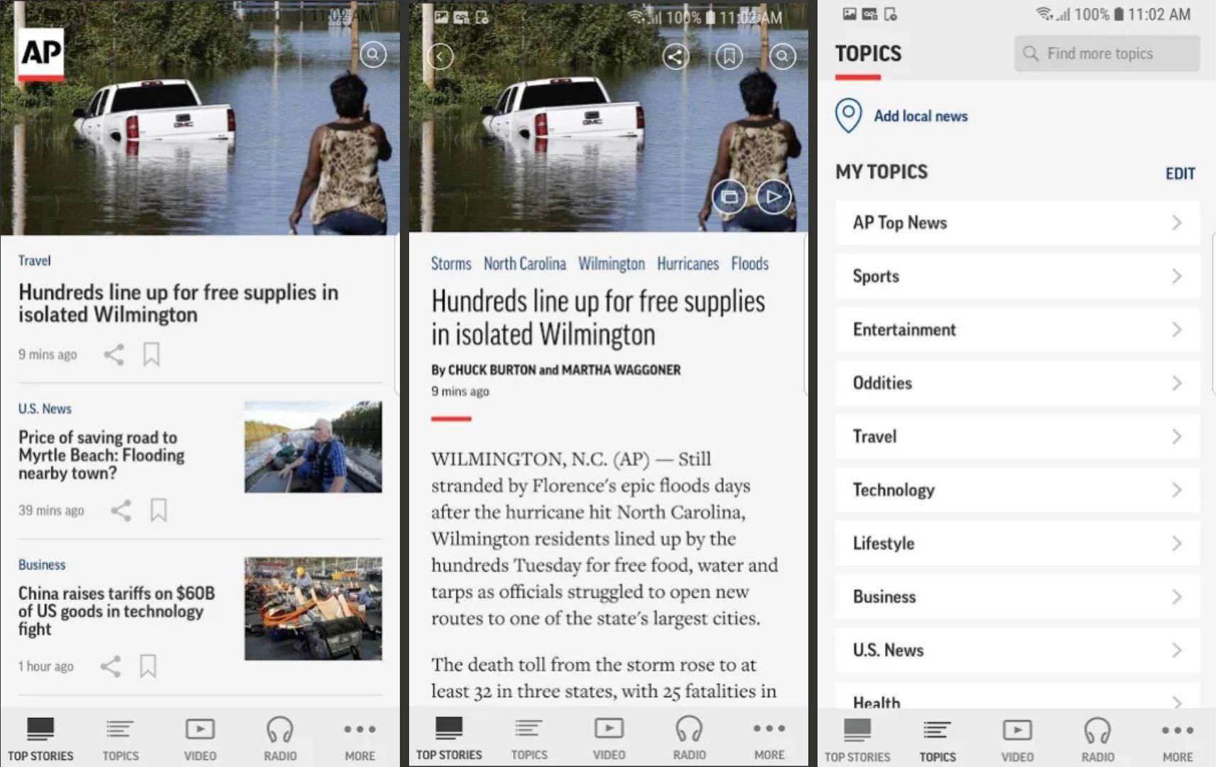 Three screenshots of AP News for Android.