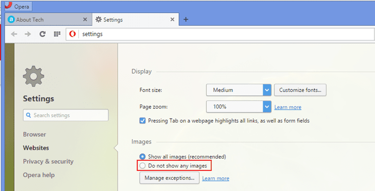 Disable images in Opera web browser