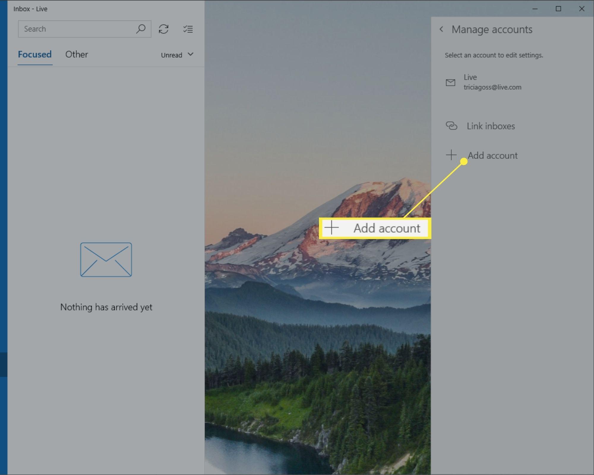 Add account in Windows 10 Mail Manage accounts menu.